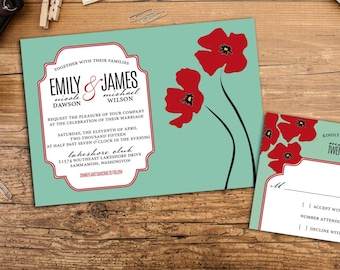 Vintage Poppies Wedding Invitation Set, Vintage Wedding invites, Floral Wedding, Wedding response cards, Thank you cards, Vintage Poppies