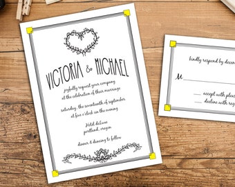 Deco Frame with Fun Fonts Elopement or Wedding Invitation, Elopement Reception invitations, After the Wedding Party Announcements
