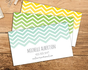 Chevron Calling Card Business Set Of 50 Or 100 Cards Custom Personalized Digital DIY File Available