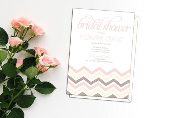 Chevron Pink Blush Bridal Shower Invitation