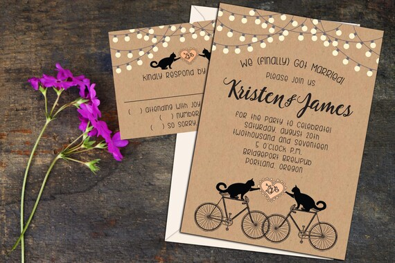 Cats on Bikes Rustic Whimsy Wedding or Elopement Party Invitations, RSVP Cards or Post Cards, Envelopes included, Fun Whimsical Invitations