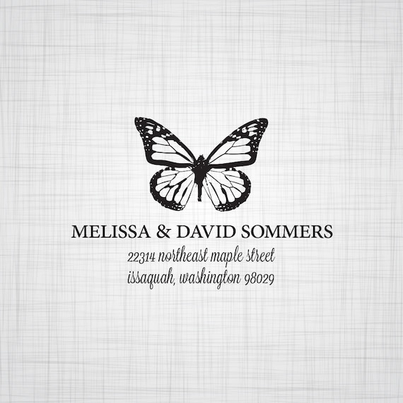Butterfly Personalized Return Address Stamp, Wedding Return Address Stamp
