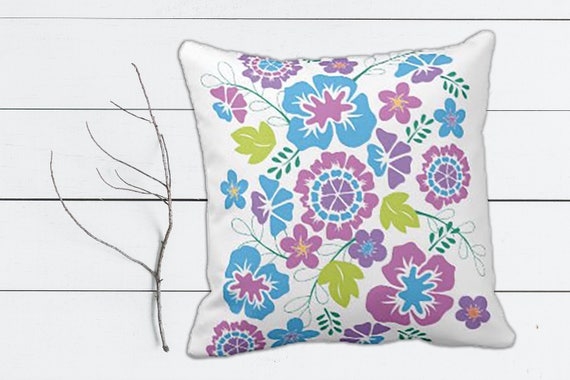 Bold Floral Design in Blue, Teal and Lavender Throw Pillow