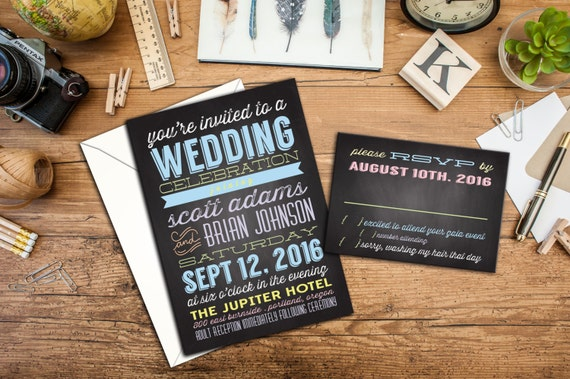 Modern Typography Wedding Invitation Set, Chalkboard Wedding, Fun Wedding Typography, Wedding Response Cards, Chalkboard thank you