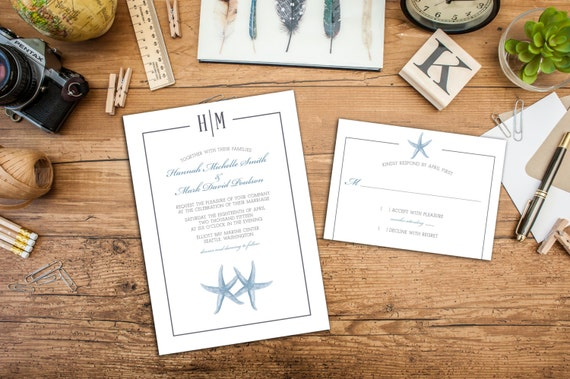 Beach Monogram Wedding Invitation Set, Wedding response cards, Thank you cards, Beach Wedding, Classy Wedding, Beach Elegance, Diy Digital