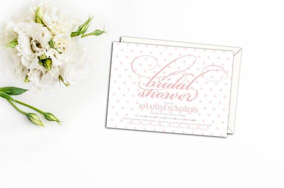 Polka Dot Script Bridal Shower Invitation