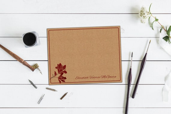 Personalized Magnolia Note Cards, Set of Ten Personalized Note Cards & Envelopes, Thank You Cards, Print on Kraft or with Kraft Background