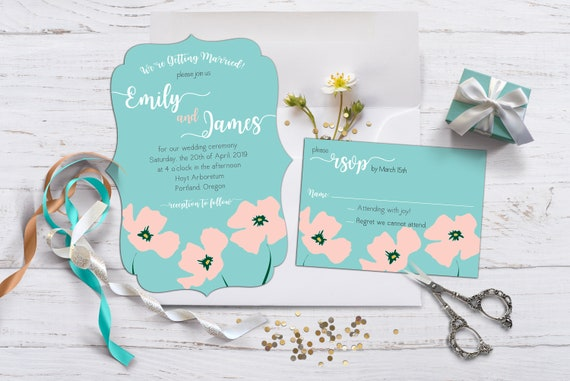 Pink Poppies Wedding or Elopement Reception Invitation with Envelopes, Pink and Turquoise Invitations, Bold Pink Poppies Invitation, RSVP