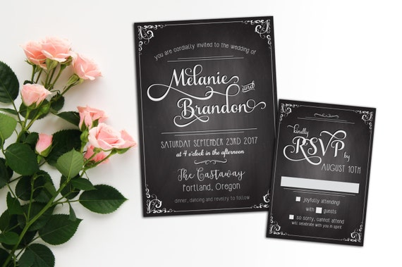 Chalkboard Calligraphy Wedding invitation, Elopement Reception Invitation, Event Invitation, Response Card and Wedding Suite
