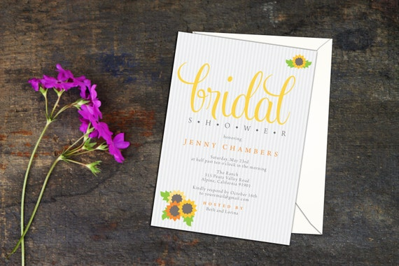 Blossom Bunches Bridal Shower Invitation, Sunflower Event Invitation, Sunflower Shower Invitations, Simple and Elegant Garden Floral Invites