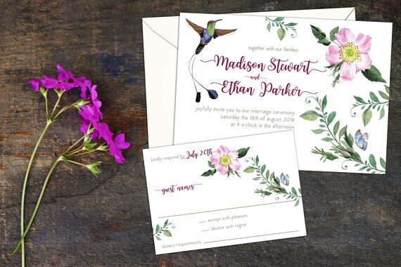 Floral Hummingbird Wedding Invitation or Elopement Invitation,Eloped Party or Reception, Event Invitation, Party Invitation, Response Cards