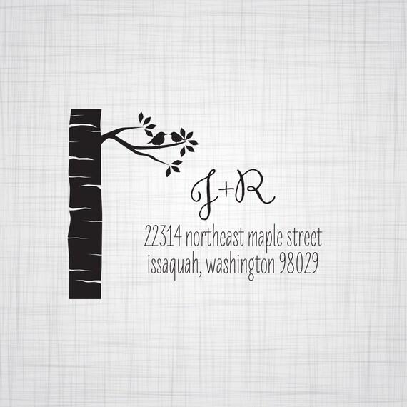 Birch Tree Personalized Return Address Stamp, Wedding Return Address Stamp