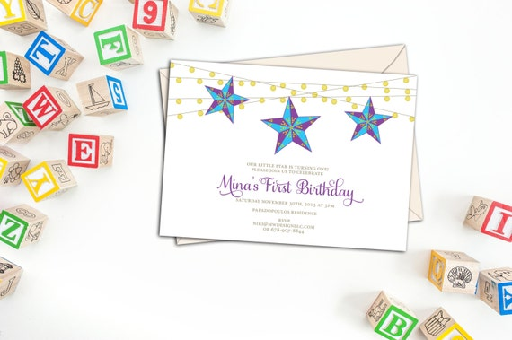 Star Lantern Birthday Party Invitation, Party Invitations with Envelopes, Shining Stars Event Invitations, Custom Birthday Party Invites