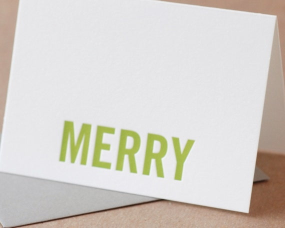 SECONDS SALE : Imperfect Modern Holiday Card - Mixed box of 5 small folded cards w mixed colored envelopes