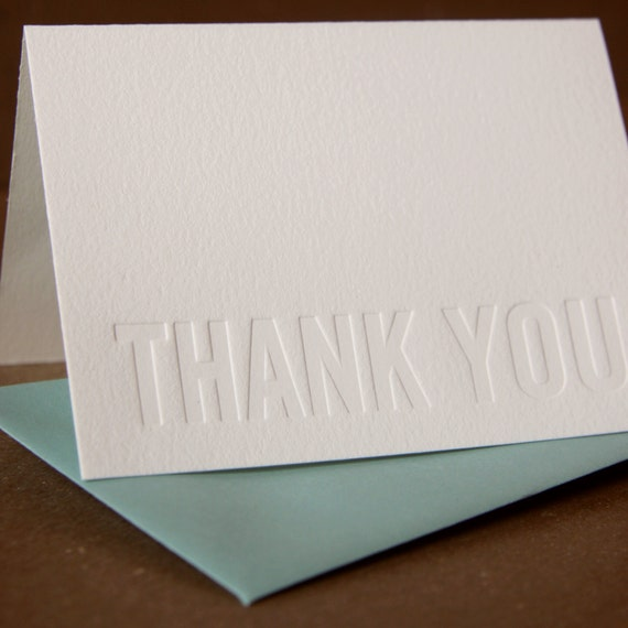 Letterpress Card : Impression (no ink) Modern Block Thank You Note - single folded card w pool blue colored envelope