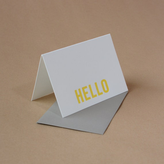 Letterpress Card : Sunshine Yellow Modern Block Hello Note - single small folded card w with stone gray envelope