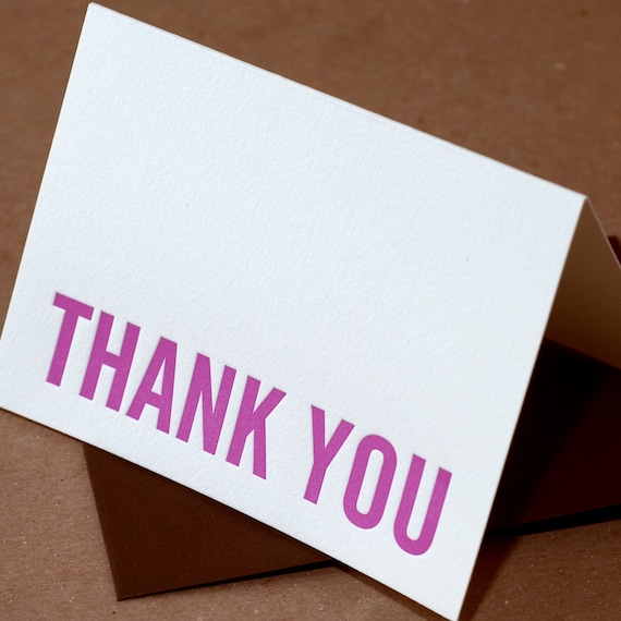 Letterpress Cards : 5 Fuchsia Modern Block Thank You Notes - box of small folded cards w chocolate brown colored envelopes