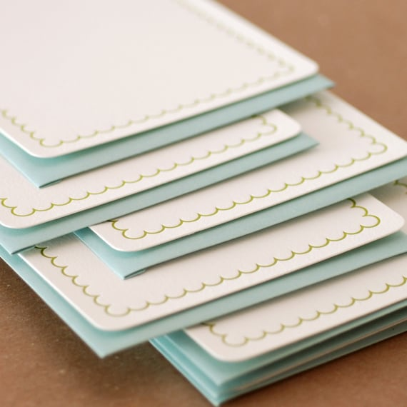 Letterpress Stationery : Edamame Simple Scallop Notes, box set of 100 medium flat cards w envelope color choice