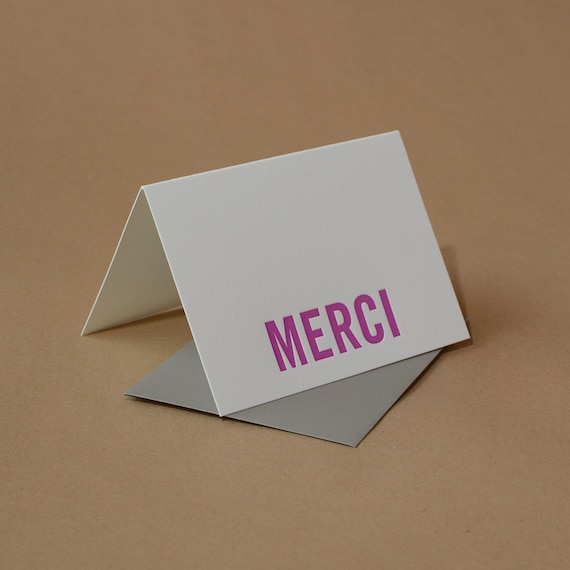 Letterpress Cards : 5 Fuchsia Modern Block Merci Notes (French Thank You) - box of small folded cards w stone gray envelopes