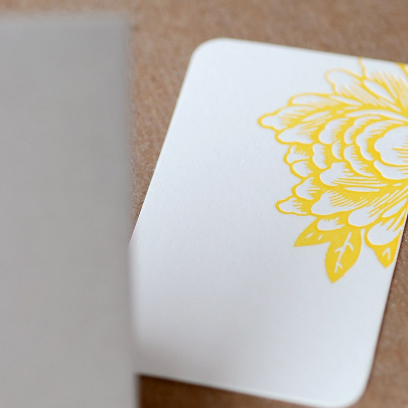 Sunshine Yellow Blossoming Flower Letterpress Mini Notes tiny flat cards w personalized envelope color choice Stationery Gift Notes