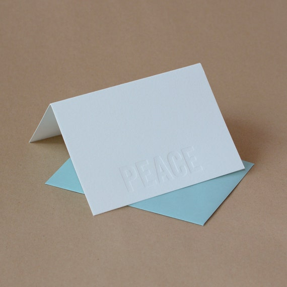 Impression (no ink) Letterpress Peace Holiday Card : small folded card w pool blue envelope