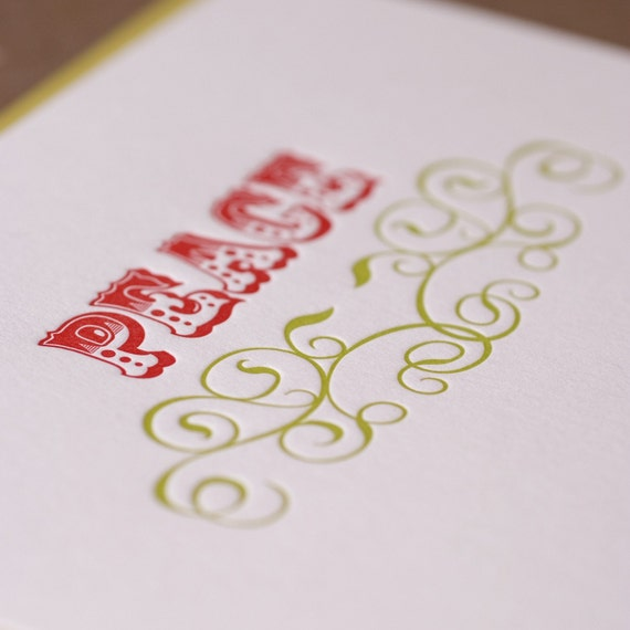 Letterpress Christmas Card Set : Fire Red and Bamboo Green Peace Holiday Cards - box of 10 large folded cards w chartreuse green envelopes
