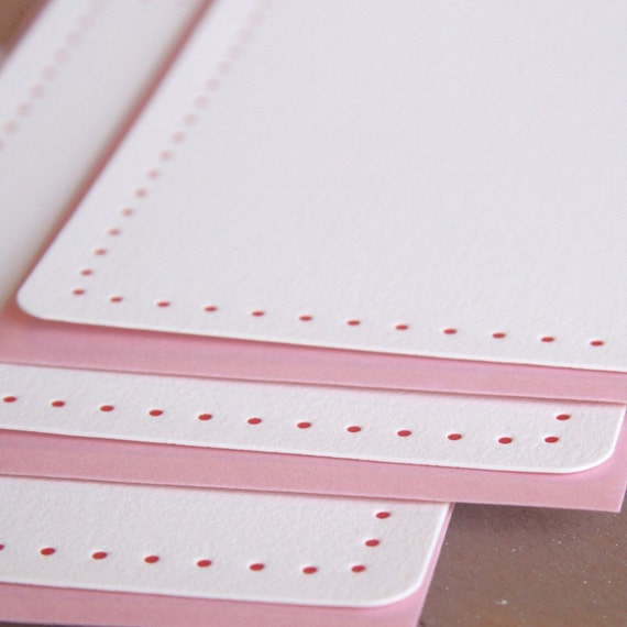 Scarlet Red Modern Dot Letterpress Stationery : single medium flat cards with blossom pink color envelopes
