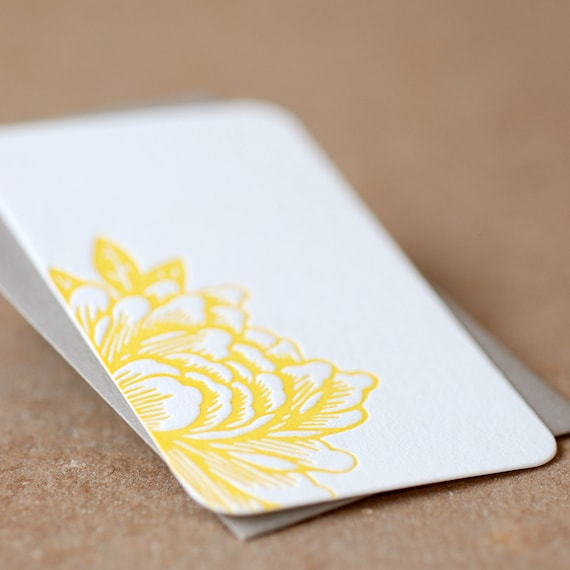 Letterpress Gift Notes, Stationery : Sunshine Yellow Blossoming Flower Mini Notes - single tiny flat cards w stone grey envelope