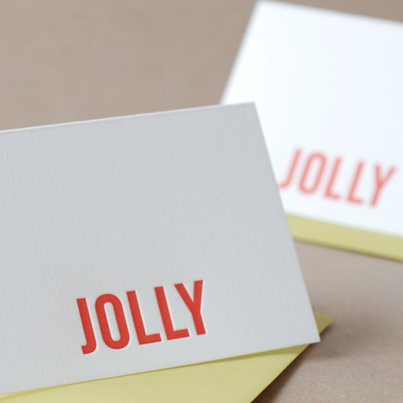 Letterpress Christmas Card : Fire Red Jolly Holiday Card - small folded card w chartreuse green envelope