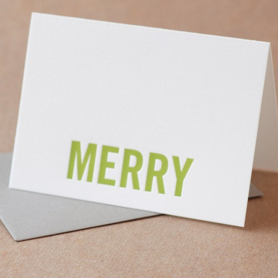 Letterpress Christmas Cards : Edamame Green Merry Holiday Card Set - box set of 25 small folded cards w envelope color choice