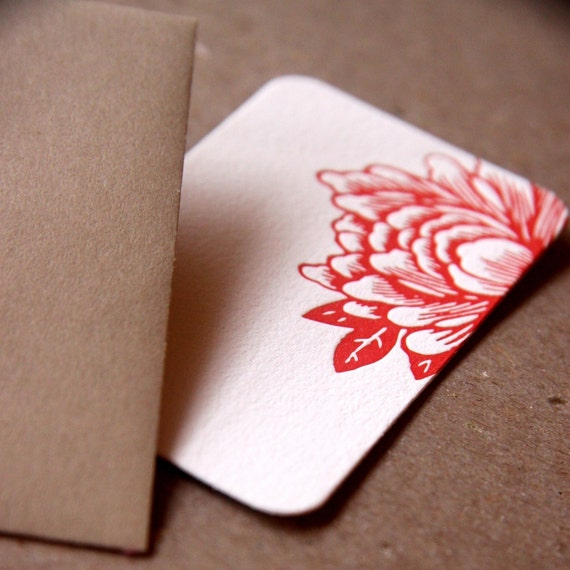 Letterpress Gift Notes or Gift Cards, Stationery : Scarlet Red Blossoming Flower Mini Notes - single flat note w kraft colored envelope