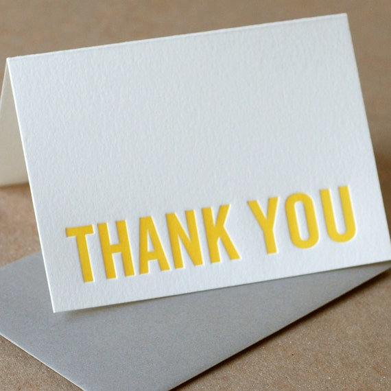 Letterpress Card : Sunshine Yellow Modern Block Thank You Note - single small folded card w stone gray color envelope