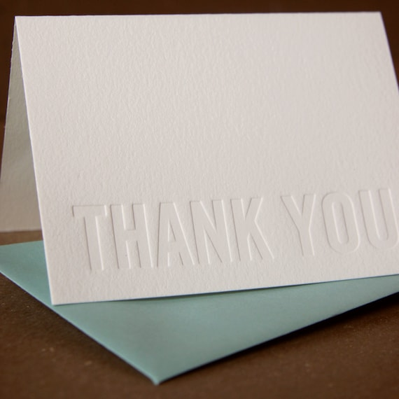 Letterpress Thank You Cards : Impression (No Ink) Modern Block Thank You Notes - box of 100 small folded cards w envelope color choice