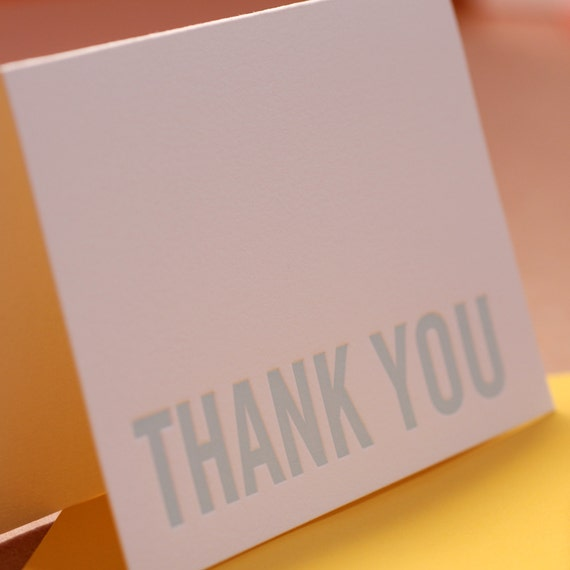 Letterpress Card : Sky Blue Modern Block Thank You Note - single folded card w mustard yellow colored envelope