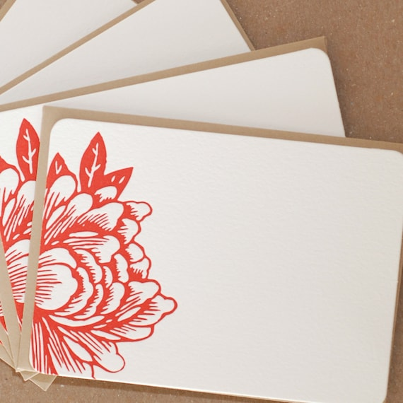 Scarlet Red Blossoming Flower Letterpress Stationery :  single flat notes w kraft colored envelope