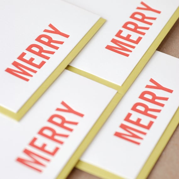 Letterpress Christmas Card Set : Fire Red Merry Holiday Cards - box set of 25 small folded cards w personalized envelope color