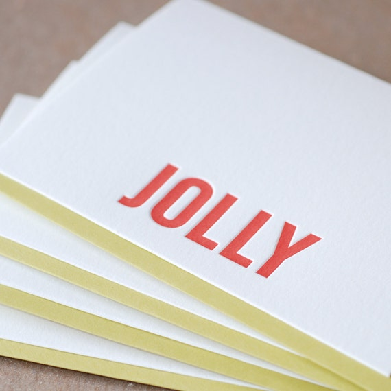 Letterpress Christmas Card Set : Fire Red Jolly Holiday Cards - box of 5 small folded cards w chartreuse green envelopes