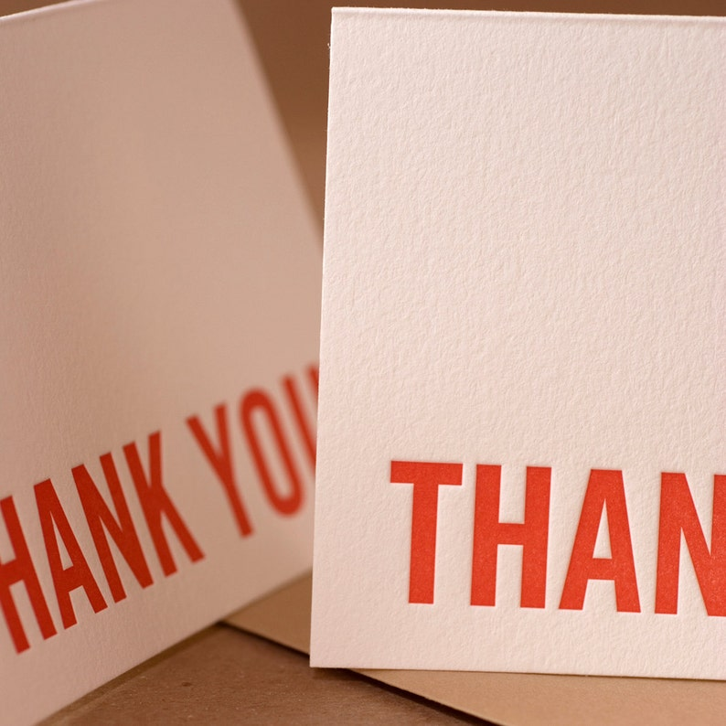 box of 100 small folded cards w envelope color choice Fire Red Modern Block Thank You Notes Letterpress Thank You Cards