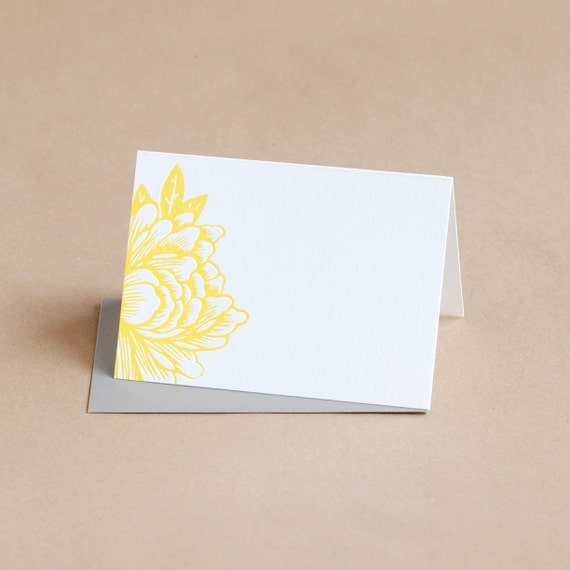 Letterpress Stationery : Sunshine Yellow Blossoming Flower Folded Notes, box of 25 small folded cards w envelope color choice