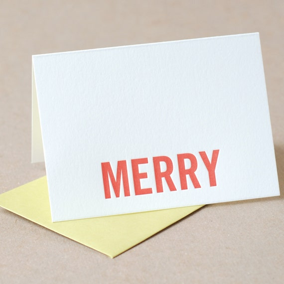 Letterpress Christmas Card :  Fire Red Merry Holiday Card - small folded card with chartreuse green envelope