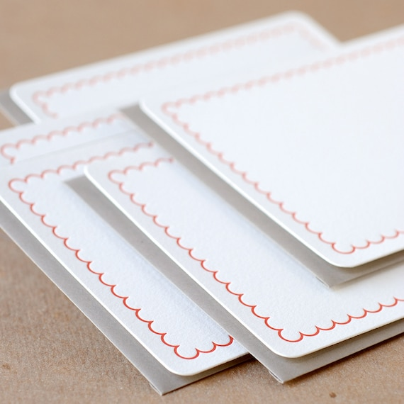 Letterpress Stationery : Fire Red Simple Scallop Notes, box set of 75 medium flat cards w envelope color choice