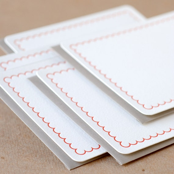 Fire Red Simple Scallop Letterpress Stationery :  single medium flat cards w stone gray colored envelope
