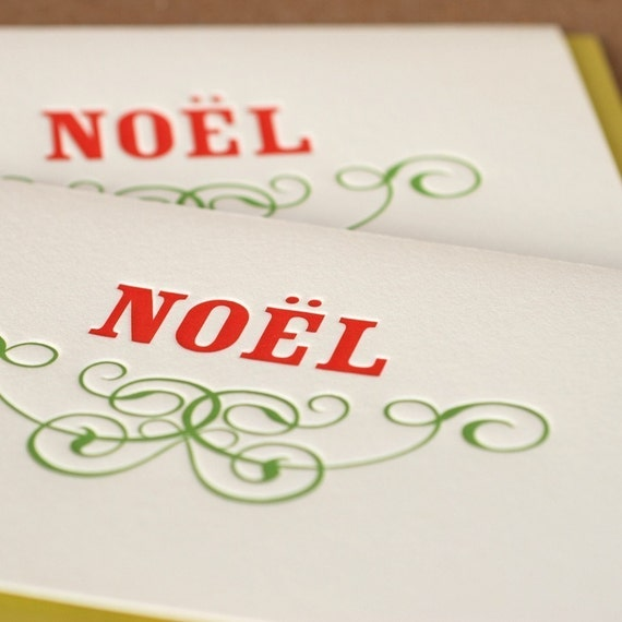 Letterpress Holiday Cards : Noël, Scarlet Red and Vine Green - package of 10 large folded cards with chartreuse green color envelopes