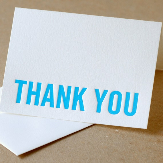 Letterpress Card : True Blue Modern Block Thank You Note - single small folded card w soft white envelope