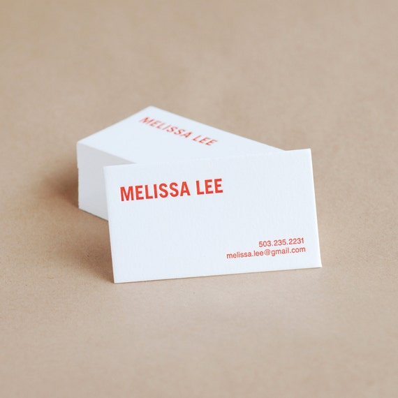 Letterpress Business Cards : Bold Modern Personalized Calling Cards - custom text + ink color {red, gray, green, blue, fuchsia, orange}