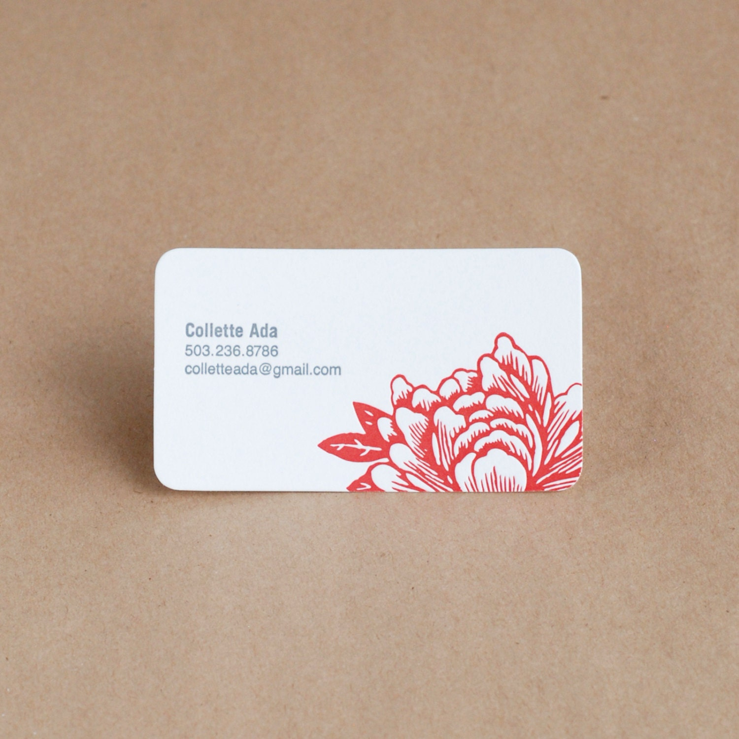 Letterpress Business Card Set : Blossoming Flower Personalized ...