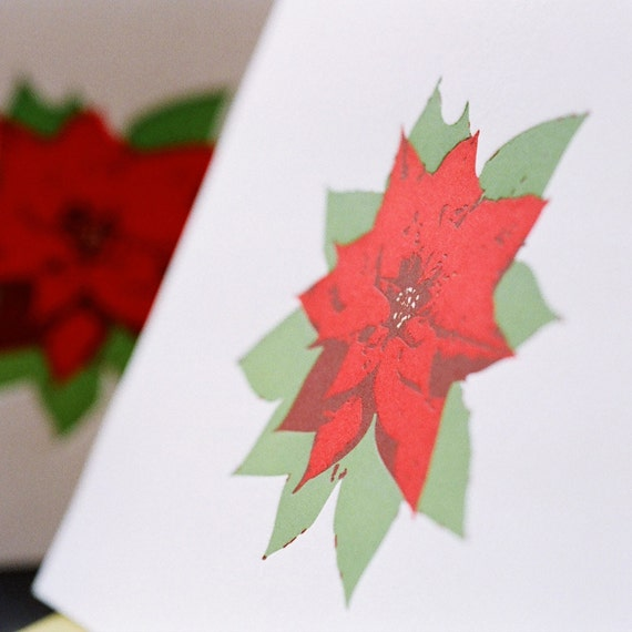 Poinsettia Letterpress Christmas Card, Scarlet Red and Vine Green - large folded card with chartreuse green colored envelope