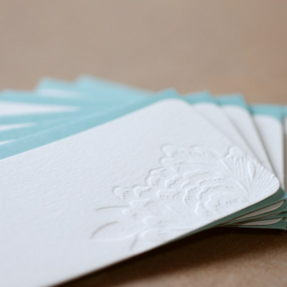 Mini Notes, Letterpress : Impression Blossoming Flower Mini Notes, package of 5 tiny flat cards w pool blue colored envelopes