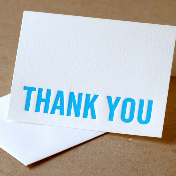 Letterpress Thank You Cards : True Blue Modern Block Thank You Notes - box of 100 small folded cards w envelope color choice