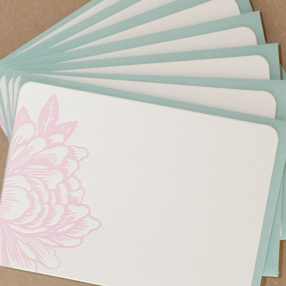 Peony Pink Blossoming Flower Letterpress Stationery :  single flat note w pool blue envelope